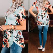 Fashion 2017 Summer Women Floral Short Sleeve Tops V Neck Shirt Nice Qual caps