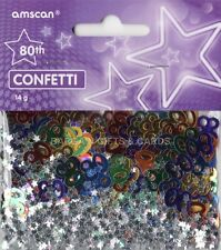 1 PACK 80TH BIRTHDAY CONFETTI / TABLE SPRINKLES MULTI COLOURS TABLE DECORATIONS