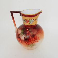 "7"" Porcelain Pitcher,  Hand Painted Floral & Berries, Favorite Bavaria, Signed"