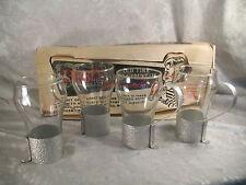 Vintage 4 Libbey Soda Fountain Glasses Aluminum handle holder original box VHTF