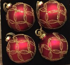 Red With Glittery Gold Bows Glass Christmas Ornaments Set Of 4