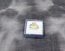 Sterling Silver Yellow Citrine Butterfly Ladies Ring   Size 7  Pretty !