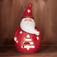 Red Santa Tea Light Candle Luminary Christmas Decoration