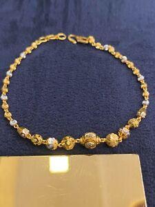 Vintage Dubai Handmade Beads Balls Tennis Bracelet In 916 Stamped 22Carat Gold