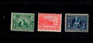 US Stamp SC#  328-330. MH. OG. 1907