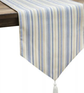 Croscill Janine Table Runner 14x90 Blue Stripe  NEW