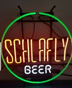 Schlafly Beer Neon light up Sign game room man cave bar pub St. Louis Brew mib