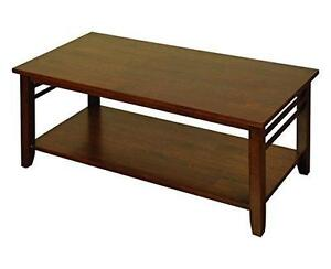 Solid Hardwood Dark Modern Coffee Table with Storage Shelf LivingRoom Furniture