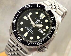 Seiko Black Prospex PADI GMT Divers Day Date Automatic Watch Jubilee Custom 6309