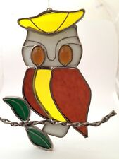 "Retro Valentien Stained Glass Owl Suncatcher 7.25"" Brown Yellow White Bird VTG"