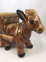 "Vintage Ceramic Donkey with Saddle & Cart Planter Brown Drip Glaze 9.5"" X 6"""
