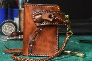 Custom Leather Biker Wallet Chain Motorcycle Wallet Handmade Leather Wallet X25