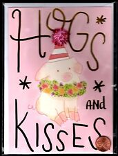 """Pig 3-D Hugs And Kisses Inside """"And Birthday Wishes  -  Birthday Greeting Card"""