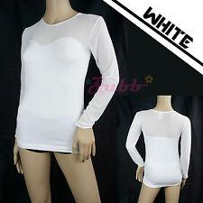 Women Sexy Seamless Sheer Long Sleeve Mesh Sweetheart Neckline Blouse Top Shirt