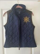 Ralph Lauren Sport Navy Blue Quilted Equestrian Crest Puffer Vest Leather Small