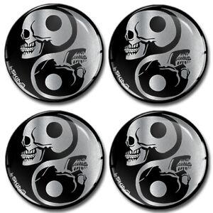 70mm 3D Silicone Stickers Decals Wheel Center Hub Rims Caps Yin Yang Skull Logo