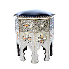 Orientalischer Tisch moroccan real leather silver brass table laiton stool H 50