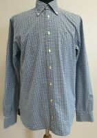 C596 MENS TOMMY HILFIGER BLUE WHITE CHECK BAGGY FIT LONG SLEEVE SHIRT UK S