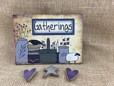 NIP Gatherings w/ 3 Magnets Picture Holder Country Primitive Sheep Crock Crow
