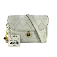 MOSCHINO CHEAP & CHIC VINTAGE WHITE HEART QUILTED LEATHER CROSSBODY BAG