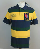 Polo Ralph Lauren Rugby Shirt Mens Polo Shield Patch Green Blue Yellow Striped