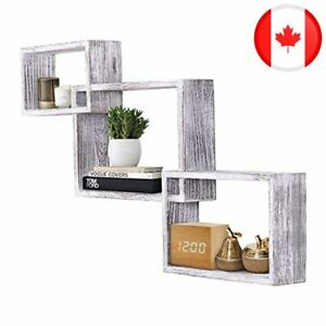 Rustic Wall Mounted Tier Square Shaped Floating Shelves – Set of 3 – Screws