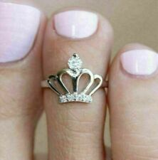 Style Toe Ring 14K White Gold Finish 0.25 Ct Round Cut Diamond Adjustable Crown