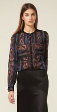 Proenza Schouler Multicolored Silk Pintucked Button Front Long Sleeve Blouse 6
