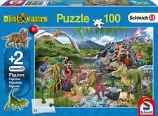 Schmidt Kingdom of the Dinosaurs Jigsaw Puzzle plus 2 Schleich Figures 100-Piece