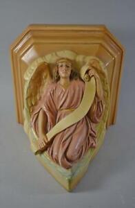 Vintage Heavy Cast Plaster Winged Angel Wall Shelf Circa 1930's