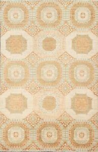 Vegetable Dye Khotan Hand-knotted Oriental Area Rug Geometric Wool 4'x6' Carpet
