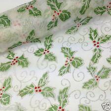 Por Metro Navidad Organza Nieve Sheer Tela Brillo Holly Diseño 29cm De Ancho