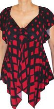 RN1 Funfash Plus Size Clothing Red Black Top Shirt Blouse Made in USA 1x XL 16