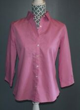 Lands End Shirt Top No Iron Supima Button Down Polka Dot womens size 6