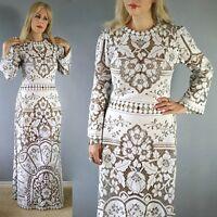 Vtg 70s CUT OUT Lace CROCHET Hippie SHEER Scalloped WEDDING Runway Maxi DRESS