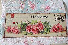 Shabby Blechschild Bild Welcome To Our Home Rosen 20 x 50cm Retro Antik Stil NEU