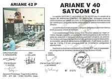 Timbre souvenir philatélique Cosmos Ariane V40 Satcom C1 lot 15088