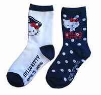 Hello Kitty 8 Paar Kinder Kleinkinder Socken Blau/Weiß 23/26, 27/30, 31/34