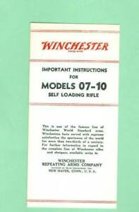 Winchester Model 1907 & 1910, 07 & 10 Owners Manual Reproduction