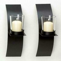Modern Art Candle Holder Wall Black Sconce Plaque DIY Home_Decor O0J9 Weddi I5H5