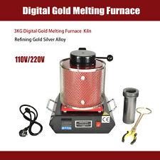 3KG Refining Gold Silver Alloy 2012F Gold Digital Melting Furnace Kiln 110V US