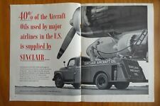 3/1952 PUB SINCLAIR AIRCRAFT OIL TRUCK AIRPORT AVITAILLEMENT ORIGINAL AD