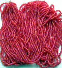VTG Strawberry Golden Orchid Frost Round 12/0 Seed Beads Glass Hank (7021525)