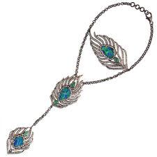 18k Gold Emerald Opal Diamond Sterling Silver Feather Design Slave Bracelet
