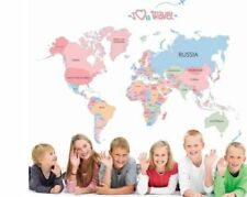 Removable World Map Colorful Letter Wall Sticker kid Room Home Decor Bedroom USA