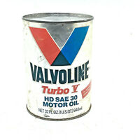 Vintage Valvoline Turbo V HD SAE 30 Motor Oil 1 QT. Can FULL & UNOPENED Ashland