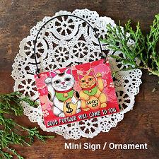 Mini Sign LUCKY CAT MANEKI NEKO WOOD Ornament Good Fortune USA Wish DecoWords