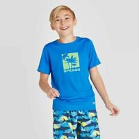 New: Speedo Kids' Palm Print Short Sleeve Rash Guard Swim Shirt - Blue - Size XS