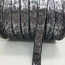 "5yds 5/8""16mm Vintage Glitter Velvet Ribbon Headband Clips Bow Wedding Craft #40"