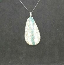 Marvelous Teardrop Howlite White Turquoise With Blue Stripe Necklace